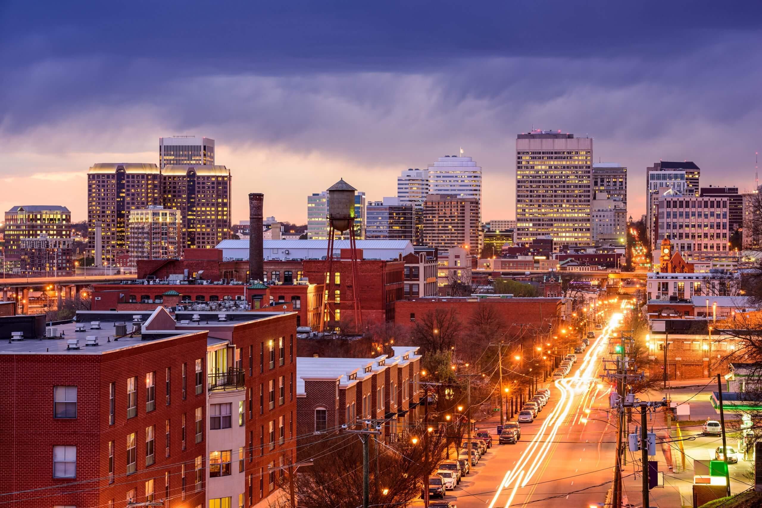 Richmond, Virginia, USA downtown cityscape over Main St.