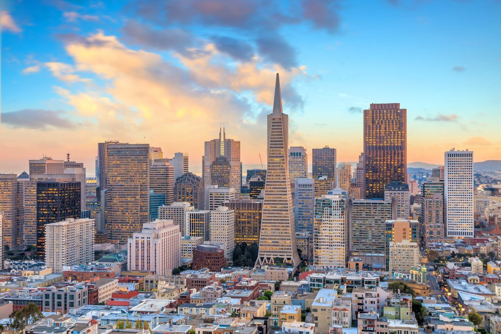 Beautiful view of  business center in downtown San Francisco
